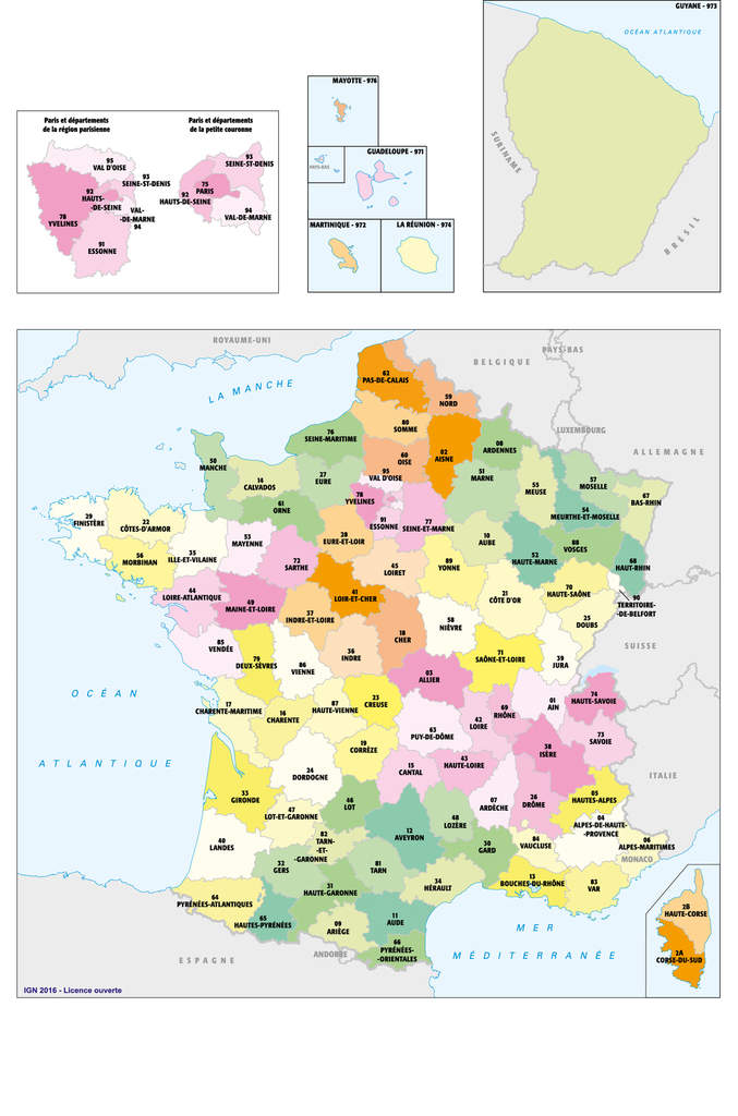Carte de France, Départements