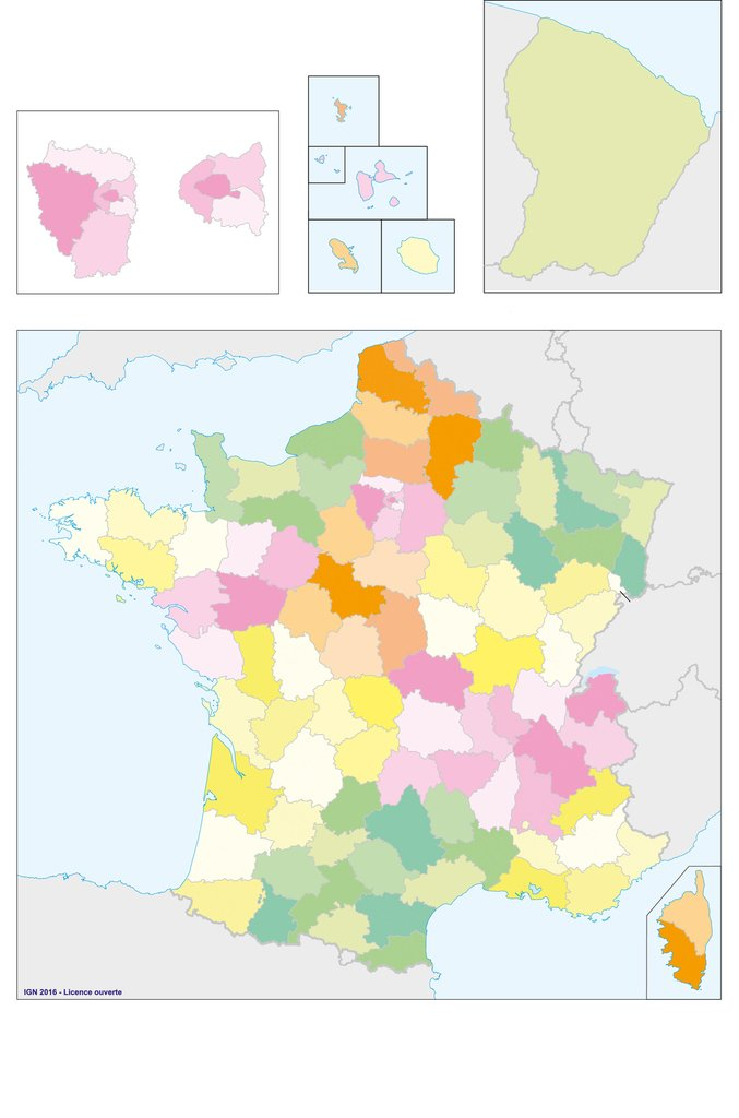 Carte de France vierge, déaprtements