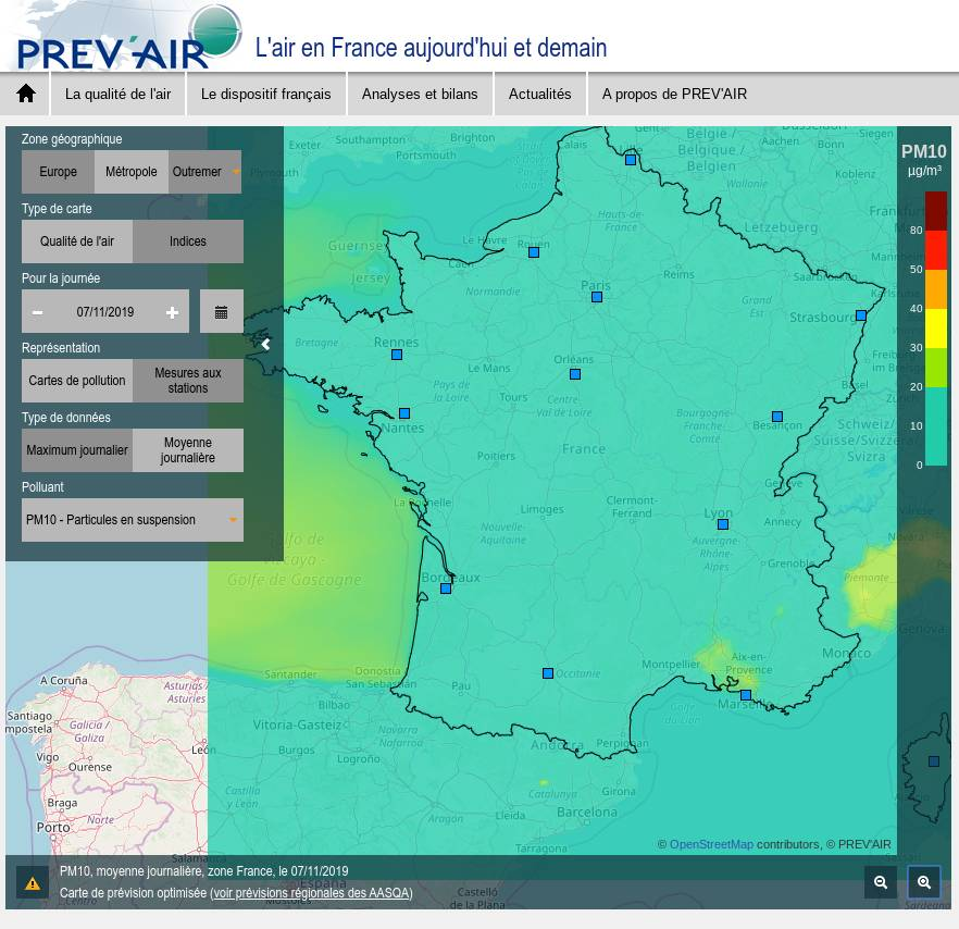 Qualité et pollution de l'air, Prév'air